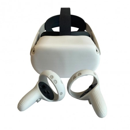 Silicone protection handle and headset for Oculus Quest 2 (white)